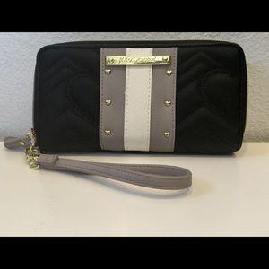 NEWBetsey Johnson Quilted Black Double Zip Wallet